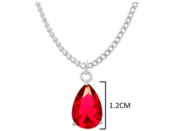 Red raindrop white gold necklace MEASUREMENT