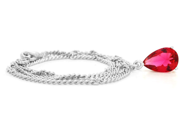 Red raindrop white gold necklace FRONT