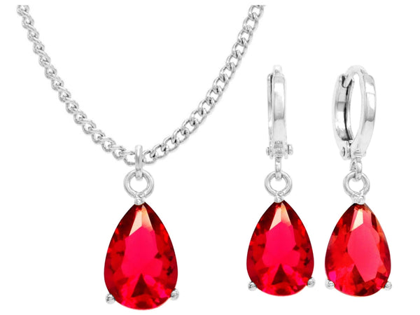 White gold red pear gem necklace and earrings MAIN