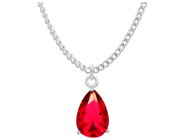 Red raindrop white gold necklace MAIN