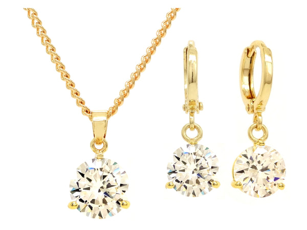 Clear gem gold necklace and earrings MAIN