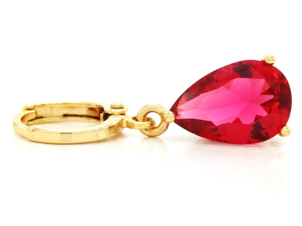 Gold red raindrop ruby type earrings FRONT