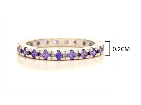 Purple thin silver band ring MEASUREMENT