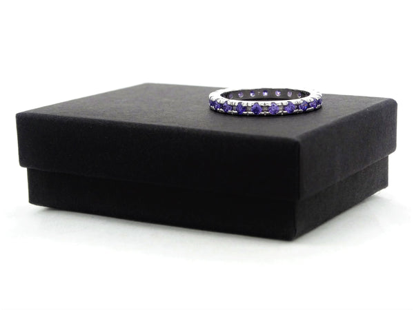 Purple thin silver band ring GIFT BOX