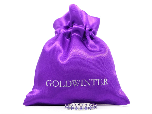 Purple thin silver band ring GIFT BAG