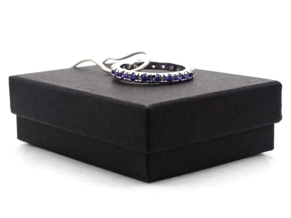 Sterling silver necklace with purple ring GIFT BOX