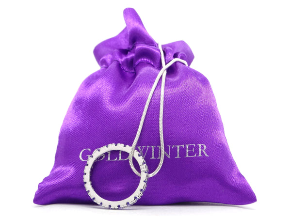 Sterling silver necklace with purple ring GIFT BAG