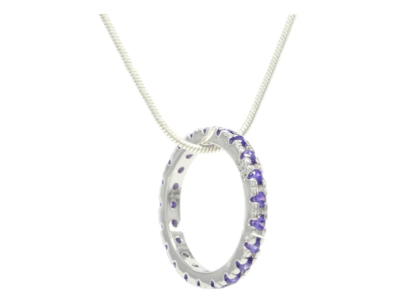 Sterling silver necklace with purple ring