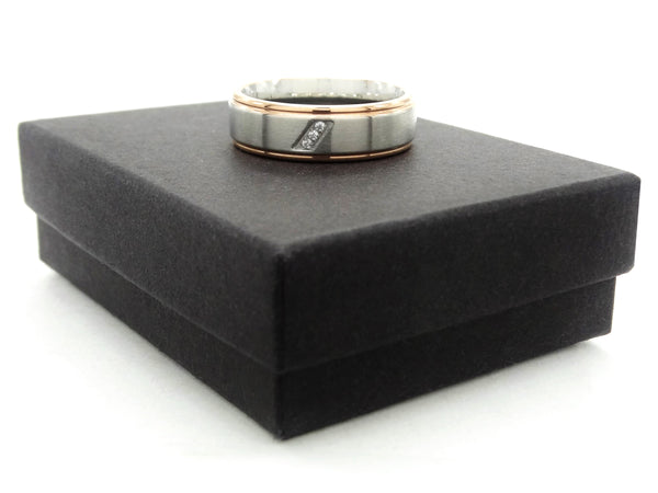 Stainless steel rose gold band ring GIFT BOX