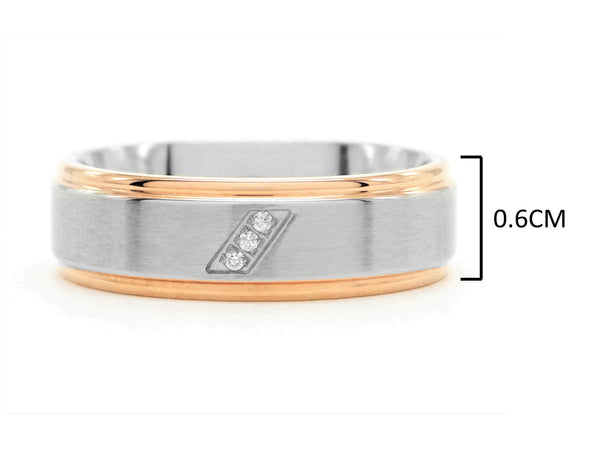 Stainless steel rose gold band ring MEASUREMENT