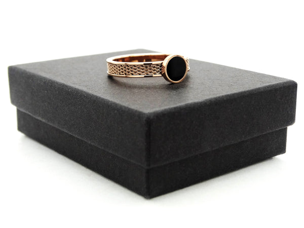 Rose gold mesh black moonstone ring GIFT BOX