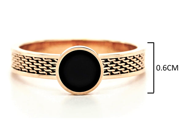 Rose gold mesh black moonstone ring MEASUREMENT