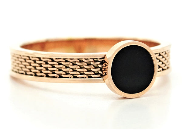 Rose gold mesh black moonstone ring FRONT