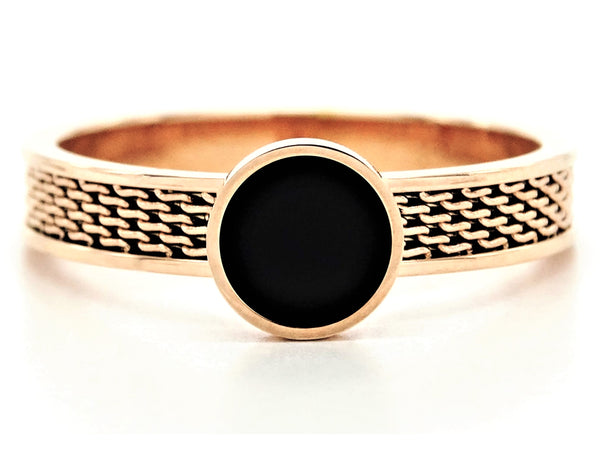 Rose gold mesh black moonstone ring MAIN