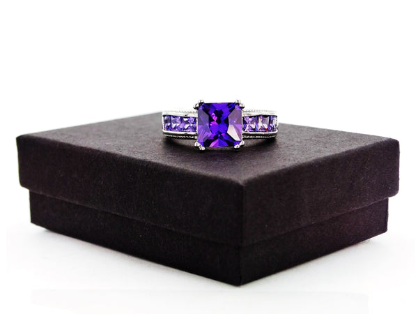Purple princess silver ring GIFT BOX