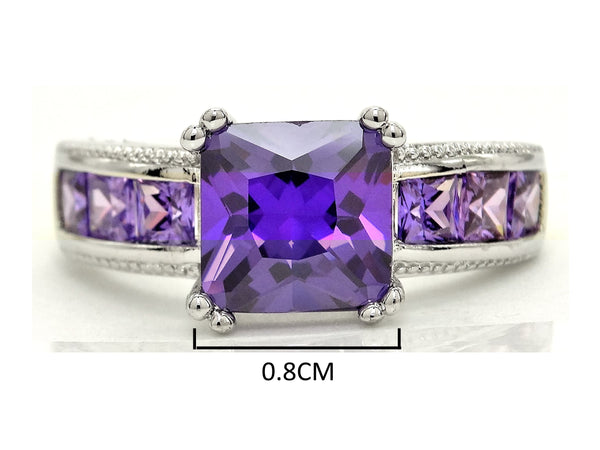 Purple princess silver ring MEASUREMENT