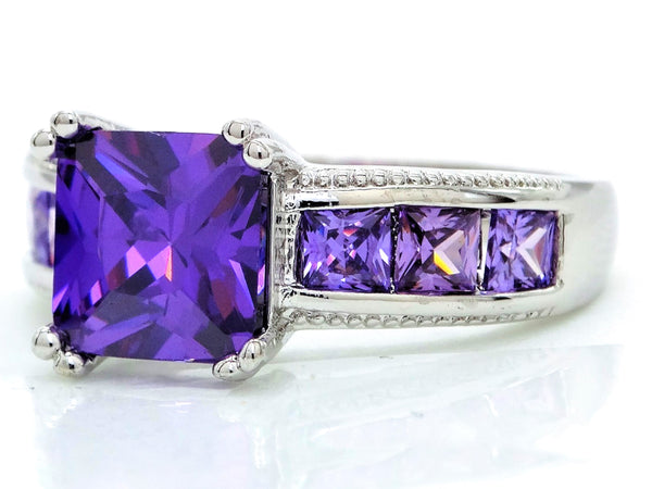 Purple princess silver ring LEFT SIDE