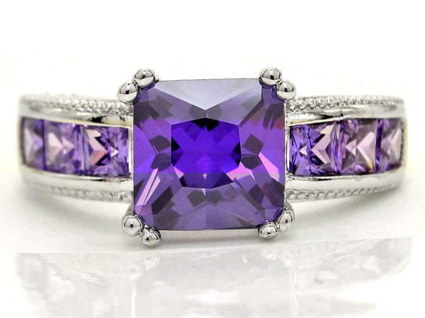 Purple princess silver ring MAIN