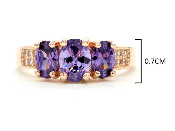 Rose gold purple oval gem ring MEASUREMENT