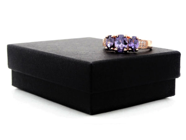 Rose gold purple oval gem ring GIFT BOX