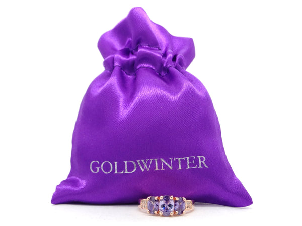 Rose gold purple oval gem ring GIFT BAG
