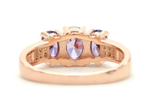 Rose gold purple oval gem ring BACK
