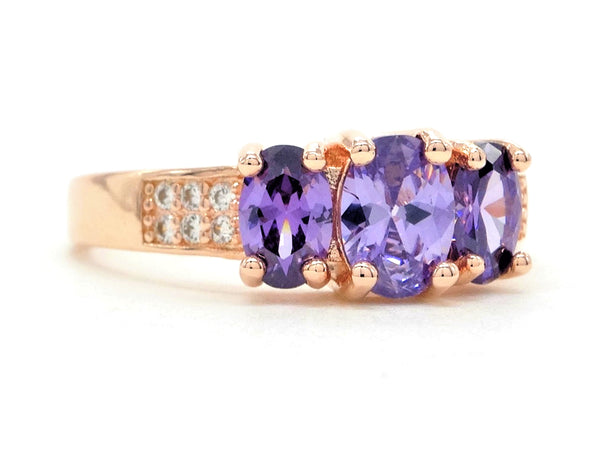 Rose gold purple oval gem ring SIDE