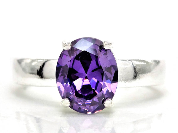 Purple oval silver ring MAIN