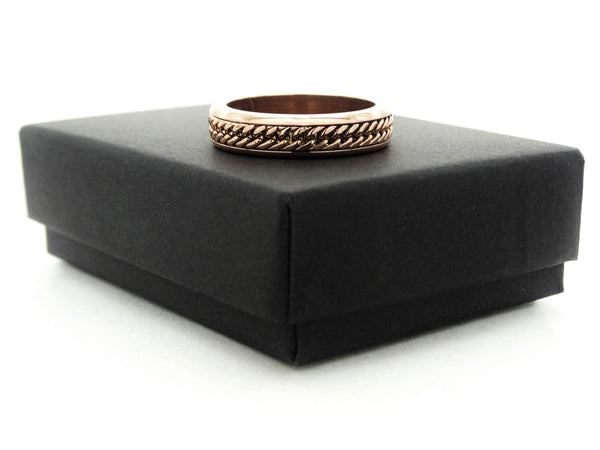 Rose gold curb link chain ring GIFT BOX