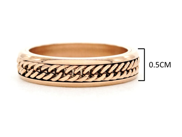 Rose gold curb link chain ring MEASUREMENT