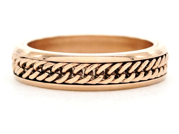 Rose gold curb link chain ring MAIN