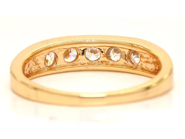 Thick gold gemstone ring BACK