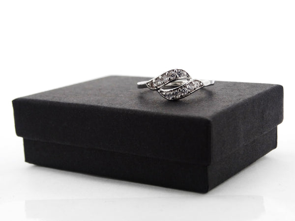 Silver intertwined gem ring GIFT BOX