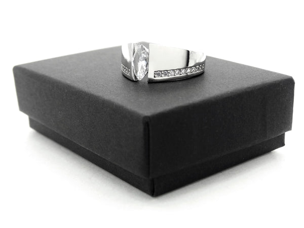 Sterling silver white marquise ring GIFT BOX