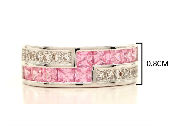 Sterling silver pink princess ring MEASUREMENT