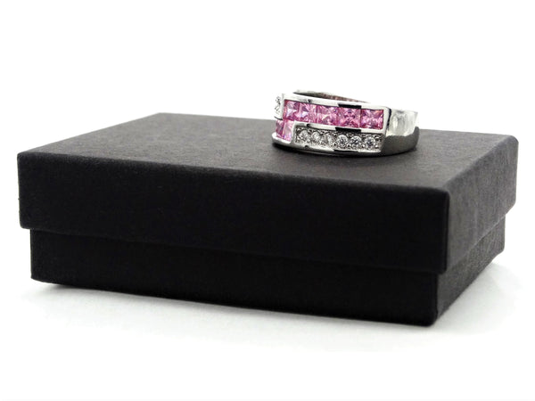 Sterling silver pink princess ring GIFT BOX