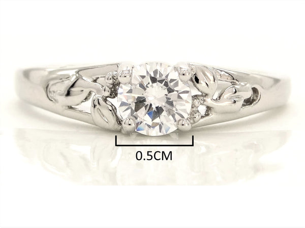 Silver bed of roses flower ring MEASUREMENT