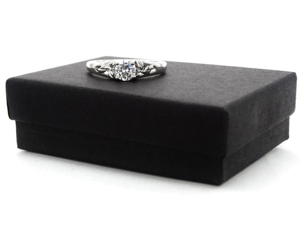 Silver bed of roses flower ring GIFT BOX