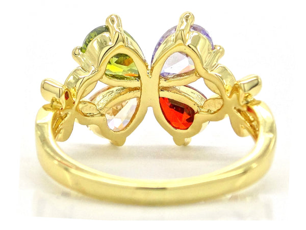 Gold flower raindrop gem ring BACK