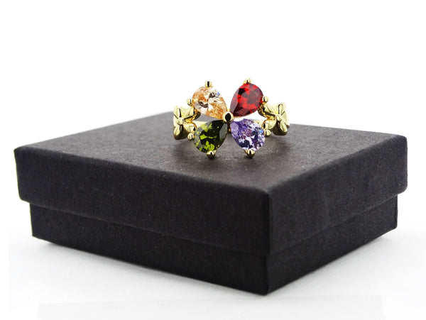 Gold flower raindrop gem ring GIFT BOX