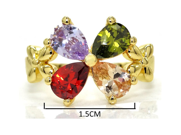 Gold flower raindrop gem ring MEASUREMENT