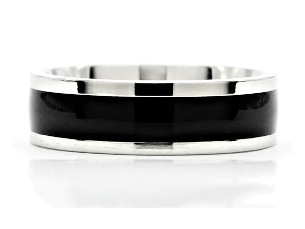 Black stainless steel band ring MAIN