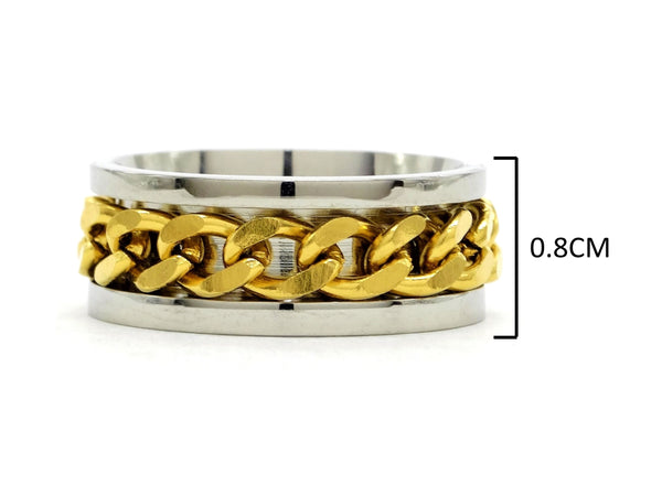 Stainless steel gold chain ring MEASUREMENT