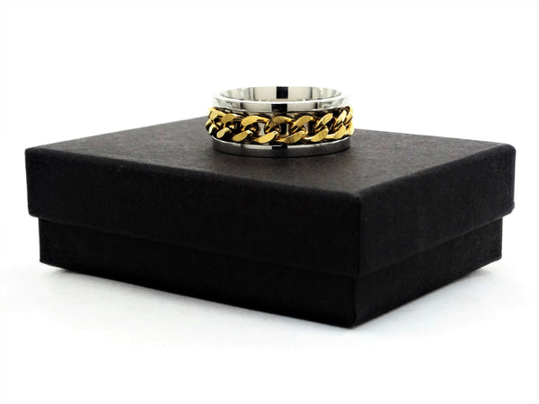 Stainless steel gold chain ring GIFT BOX