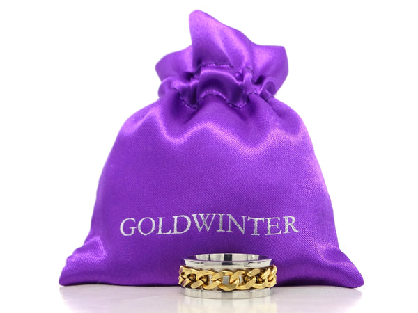 Stainless steel gold chain ring GIFT BAG