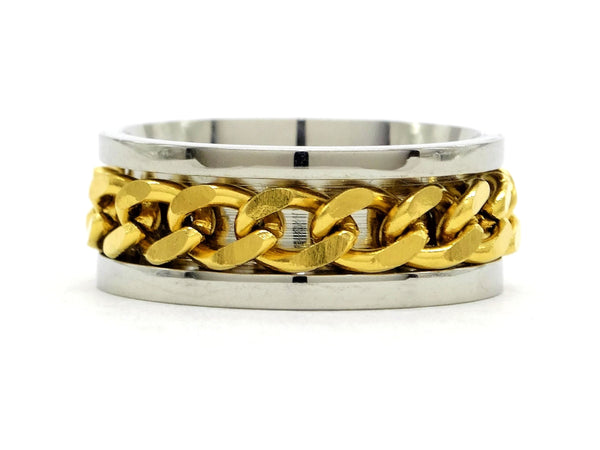 Stainless steel gold chain ring MAIN