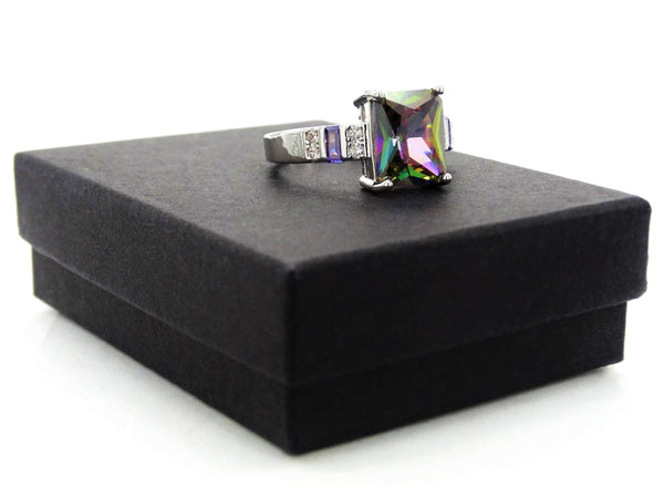 Multicolored baguette sterling silver ring GIFT BOX