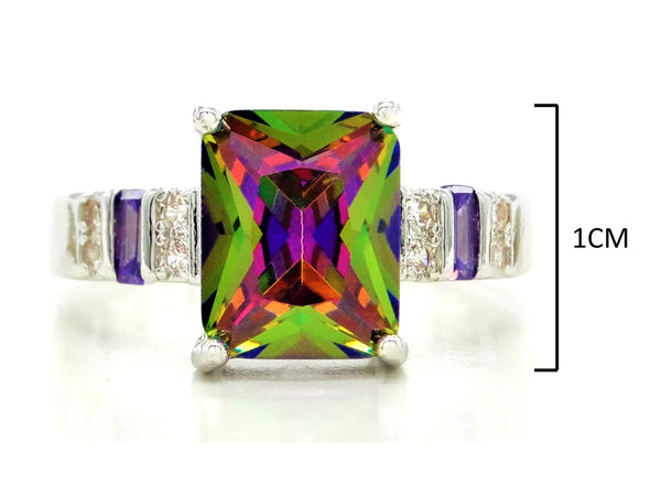 Multicolored baguette sterling silver ring MEASUREMENT
