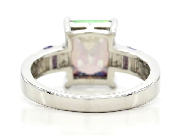 Multicolored baguette sterling silver ring BACK