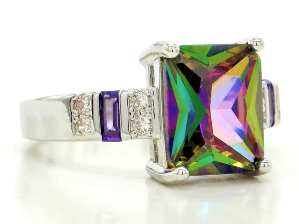 Multicolored baguette sterling silver ring SIDE